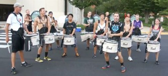 tired from a long day, the drummers had fun together pushing thru reps