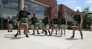 after a split-sequential roll down the snare line, the ends toss a stick!