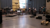 room during set-up for hours of production runs